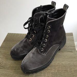 Mossimo women's black velvet combat boots 8.5